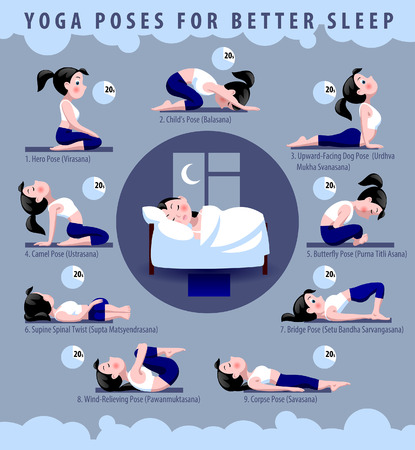 Yoga poses for better sleep. Fitness exercises with cartoon girl in blue and white suit in flat syle. Vector illustration