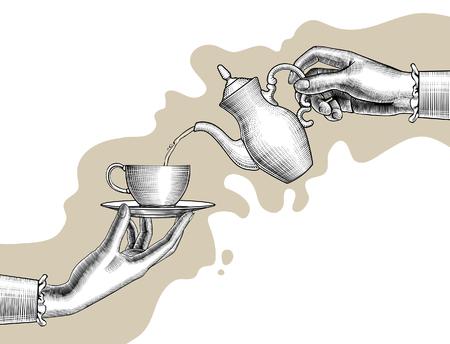 Le mani della donna con una caffettiera e una tazza. Disegno stilizzato dell'annata. Illustrazione vettoriale