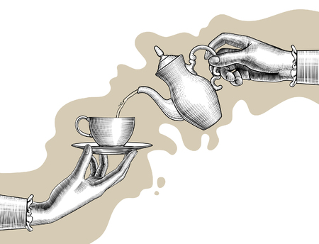 Woman's hands with a coffee pot and cup. Vintage stylized drawing. Vector illustration
