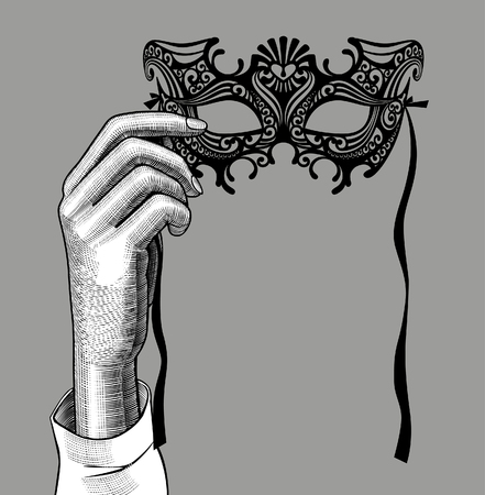 Woman's hand with a decorative carnival Venetian mask. Vintage stylized drawing. Vector illustration