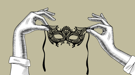 Woman's hands with a decorative carnival Venetian mask. Vintage stylized drawing. Vector illustration