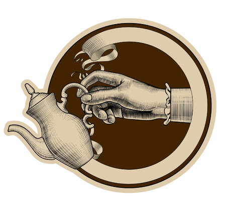 Round brown retro label with ribbon and woman's hand holding a coffee pot. Vintage stylized drawing. Vector illustration