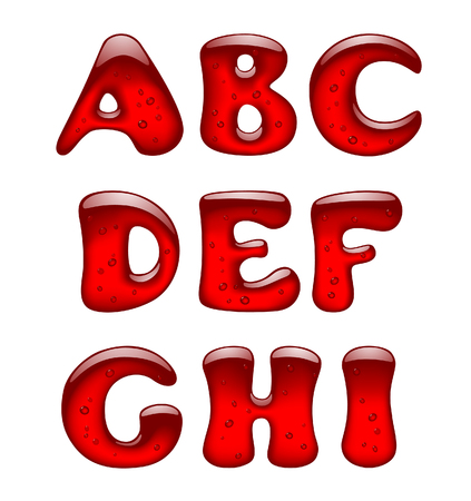 Set of red gel and caramel alphabet capital letters isolated on white. Vector illustration