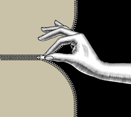 Womans hand zipped up with pinch fingers the slide fastener. Vintage stylized drawing. Vector illustration