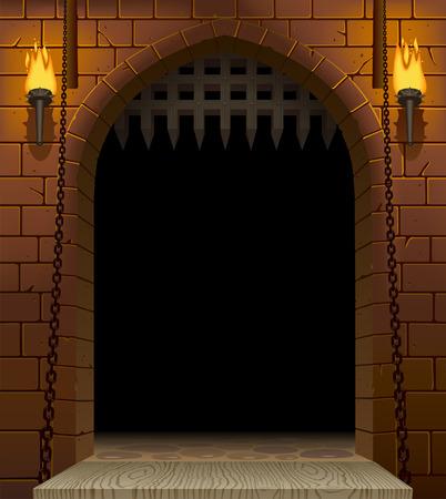Mittelalterliches Burgtor mit Zugbrücke und Fackeln mit schwarzer Öffnung. Architektonischer Vintage-Rahmen. Cover und Poster Fantasy Design. Vektorillustration
