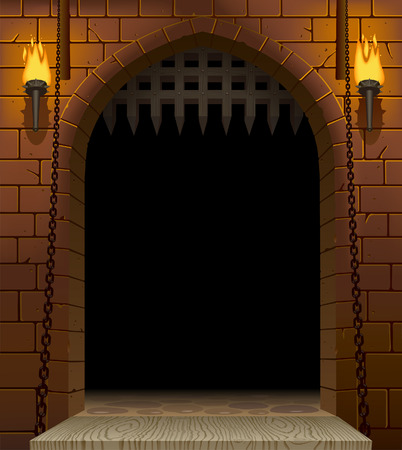 Medieval castle gate with a drawbridge and torches with a black aperture. Architectural vintage frame. Cover and poster fantasy design. Vector illustration