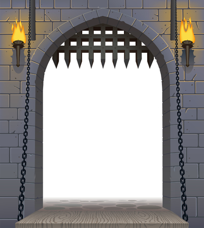 Medieval castle gate with a drawbridge and torches with a white aperture. Architectural vintage frame. Cover and poster fantasy design. Vector illustration