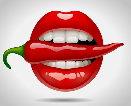Boca femenina con pimiento rojo. Ilustración vectorial