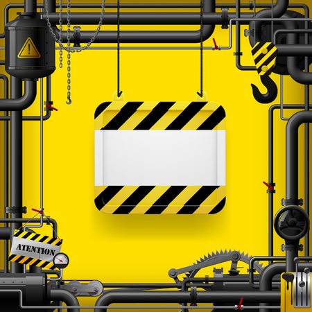 Black gas pipes and suspended sign with yellow and black stripes. Industrial frame and background. Vector Illustration