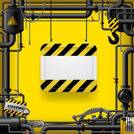 Tubi del gas neri e cartello sospeso con strisce gialle e nere. Telaio industriale e sfondo. illustrazione vettoriale