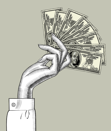 Woman's hand palm down with fan of 100 dollars bank notes. Vintage engraving stylized drawing. Vector illustration