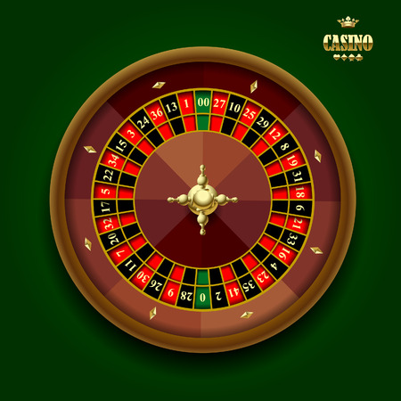 American casino roulette wheel on dark green background. Vector illustration