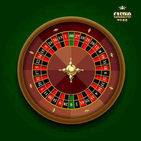 Rueda de la ruleta del casino americano sobre fondo verde oscuro. Ilustración vectorial