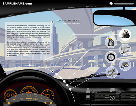 Automobile Service Website design template with dashboard, highway overpass, service and repair related icons. Vector illustration