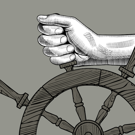 Hands of man holding a steering wheel. Vintage engraving stylized drawing. Vector illustration