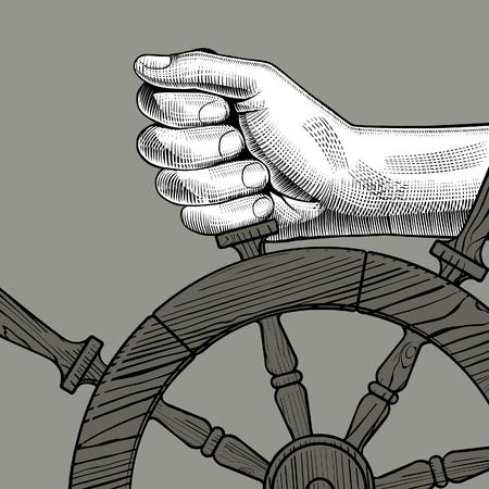 Manos de hombre sosteniendo un volante. Dibujo estilizado de grabado vintage. Ilustración vectorial