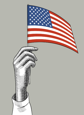 Hand of woman holding the USA flag. Vintage engraving stylized conceptual drawing. Vector illustration
