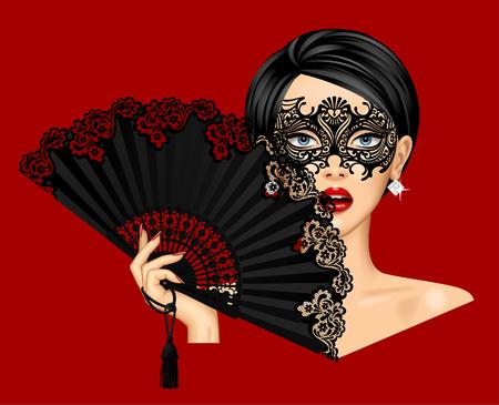 Mujer con máscara veneciana de carnaval y sosteniendo en su mano abanico vintage negro abierto aislado en rojo. Ilustración vectorial