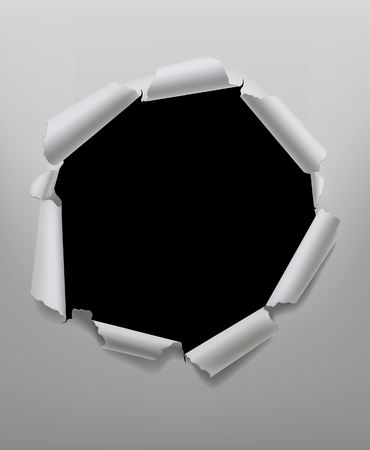 Torn paper hole round frame in white and black colors. Vector illustration