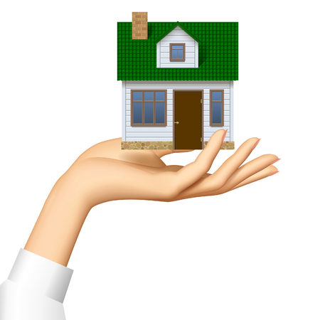 Womans hand offer a small model of white realistic house with green roof in front view soaring in the air. Vector illustration