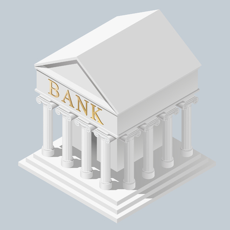 Isometric projection of white bank building in antique style. Business and finance symbol and metaphor. Vector Illustration