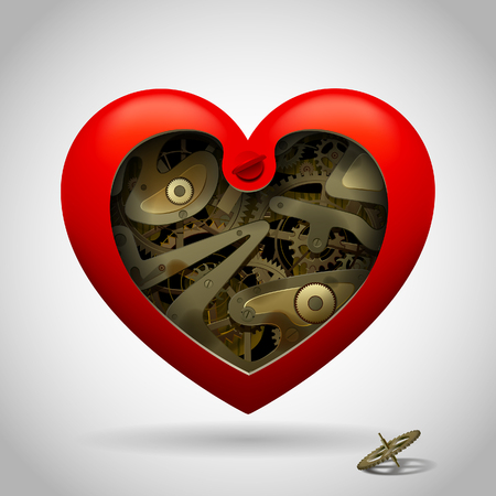 Opened red heart with clockwork pinion inside isolated on white. Love symbol and metaphor. Vector Illustration