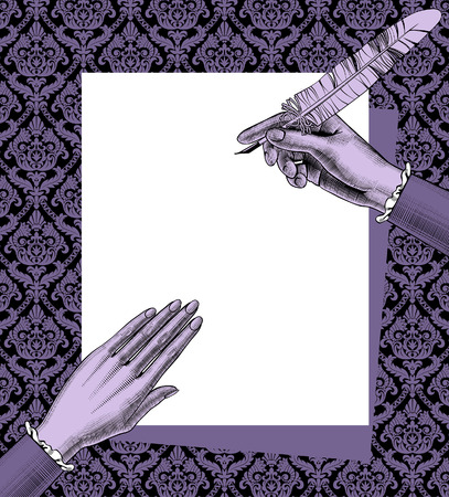 Woman's hands holding a paper sheet and feather pen on decorative retro background. Vintage engraving stylized drawing in lilac colors. Vector illustration
