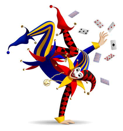 Dancing Joker with playing cards on white. Three dimensional stylized drawing. Vector illustration