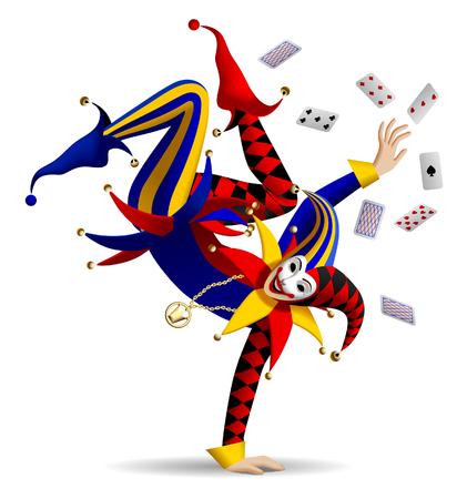 Joker bailando con naipes en blanco. Dibujo estilizado tridimensional. Ilustración vectorial