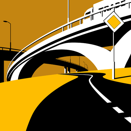 Highway overpass and road in flat style. Modern urban life conceptual vector illustration.