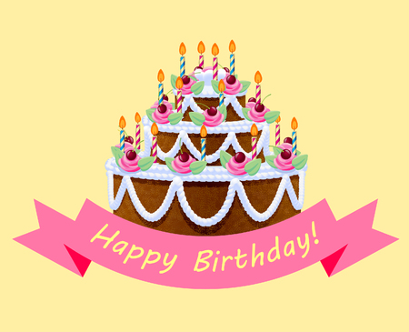 Birthday cake with lights and pink ribbon on yellow background. Greeting card. Vector illustration