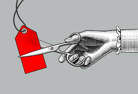 Womans hand cutting a red label with scissors. Vintage engraving stylized drawing. Retro concept poster discount sale. Sale banner. Vector illustration Ilustração