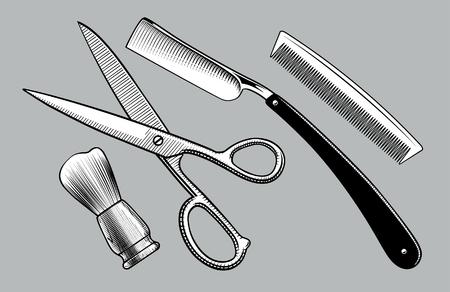 Rasiermesser, Schere, Bürstenständer und Kamm. Barbershop-Werkzeuge. Vintage stilisierte Zeichnung. Vektor-Illustration