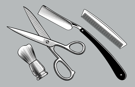 Straight razor, scissors, brush stand and comb. Barbershop tools. Vintage stylized drawing. Vector illustration