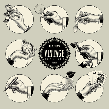 Set of round icons in vintage engraving style with hands and accessories. Retro business icons. Vector illustration 矢量图像