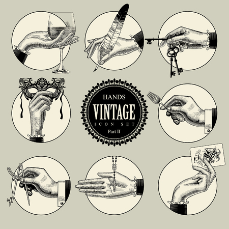 Set of round icons in vintage engraving style with hands and accessories. Retro business icons. Vector illustration Çizim