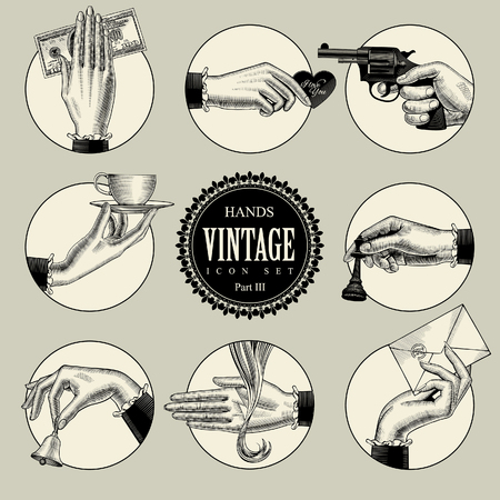 Set of round icons in vintage engraving style with hands and accessories. Retro business icons. Vector illustration Illusztráció