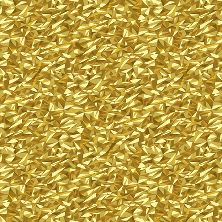 Gold crumpled foil texture abstract seamless pattern background. Vector illustration