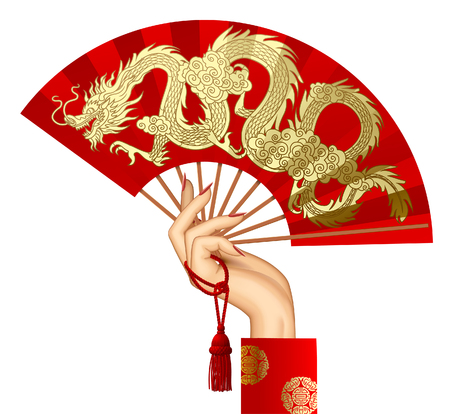 Woman's hand with a red chinese fan with gold decorative gragon isolated on white. Vector illustration Stock Illustratie