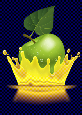 Green apple and transparent splash crown of juice. Vector illustration