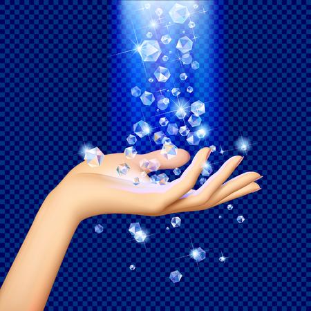 Diamantes transparentes bajo luz azul cayendo sobre la palma de la mano de la mujer. Ilustración vectorial Ilustración de vector