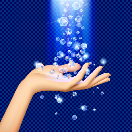 Transparent diamonds under blue light falling on the woman's hand palm up. Vector illustration