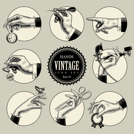 Set of round icons in vintage engraving style with hands and accessories. Retro business icons. Vector illustration  イラスト・ベクター素材