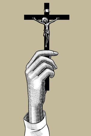 Mains de femme tenant une croix avec un crucifix. Dessin stylisé de gravure vintage. Illustration vectorielle Vecteurs