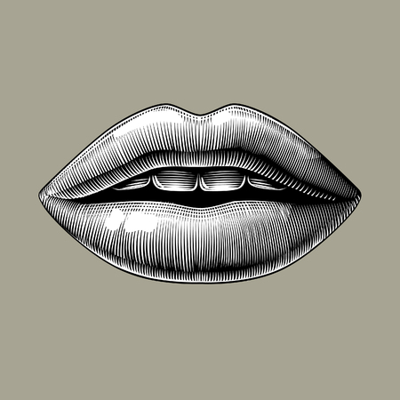Female lips. Vintage engraving stylized drawing. Vector illustration