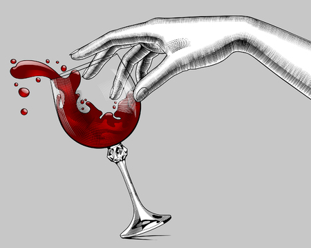 Female hand and a falling glass with splashed red wine. Vintage engraving stylized drawing. Vector illustration