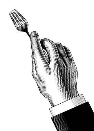 Hand with a fork. Vintage engraving stylized drawing. Vector illustration