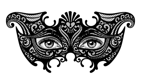 Black silhouette of a decorative carnival Venetian mask with female eyes isolated on white. Vector illustration Vectores