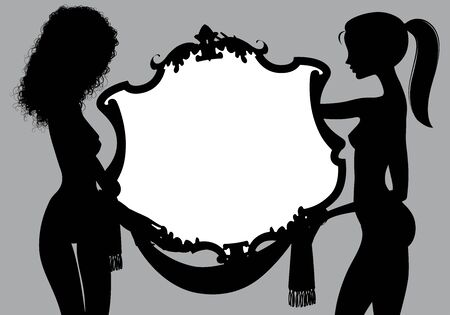 Black silhouette of two naked girls with a vintage signboard