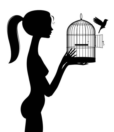Silhouette eines Mädchens befreit einen Vogel aus einem Käfig